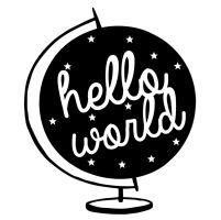 Dřevěné razítko, velikost C - hello world!