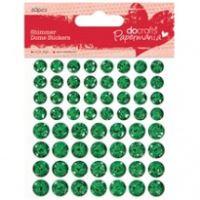 Třpytivé vypouklé samolepicí tečky, 60ks - zelené
