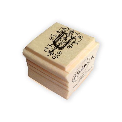 Dřevěné razítko - Písmeno U s ornamentem 1