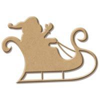 Dřevěný výřez - Santa na sáních