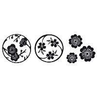 Dřevěné razítko, kostka, sakurové květy