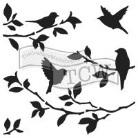 "Šablona 12""x12"" (30,5 x 30,5 cm), Birds of branches"