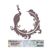 Šablona Cadence stínová - páv v ornamentu