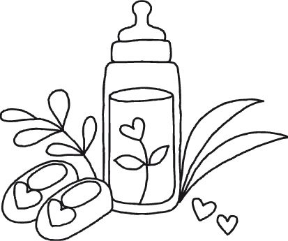 Dřevěné razítko, velikost G, kojenecká lahvička