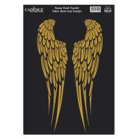Zlatá nažehlovací nálepka, 21x30 cm - křídla