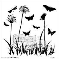 """Šablona 12""""x12"""" (30,5 x 30,5 cm) - motýlci v květinách, Butterfly Meadow"""