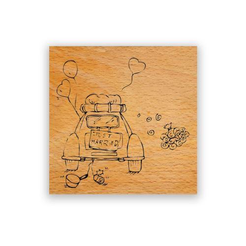 Dřevěné razítko - Svatební cesta s kyticí 1
