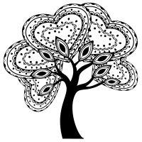 Dřevěné razítko, velikost G - srdíčkový strom 2