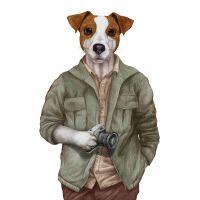 Nažehlovací nálepka, pes fotograf - 21 x 30 cm