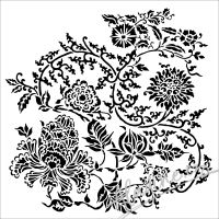 "Šablona 6""x6"" (15,2 x 15,2 cm), Asian Floral"