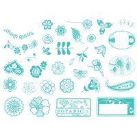 Aladine razítka StampoScrap, kytičky a ornamenty, 34 ks