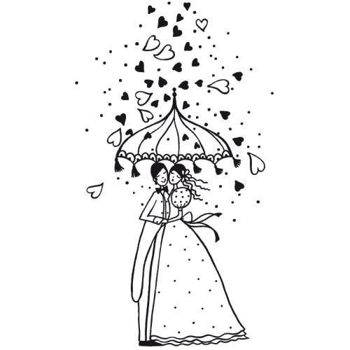 Dřevěné razítko, velikost G - svatební déšť