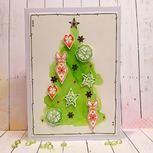 Akvarelový vánoční stromeček s razítky
