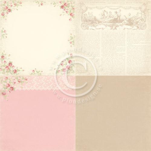 """Scrapbookový ppaír, 4 motivy - 6""""x6"""", Rose du jardin, zahradní růže"""