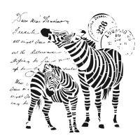 Šablona Cadence, kolekce HomeDeco, 45x45 cm - zebry