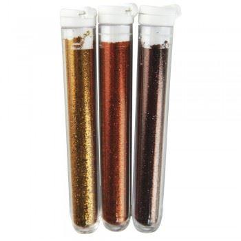 Třpytky do textilních barev, 3x3g - hnědo-zlaté odstíny