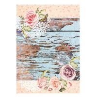 Rýžový papír - vintage růže s motýlky