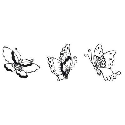 Dřevěné razítko, kostka, romantický motýl