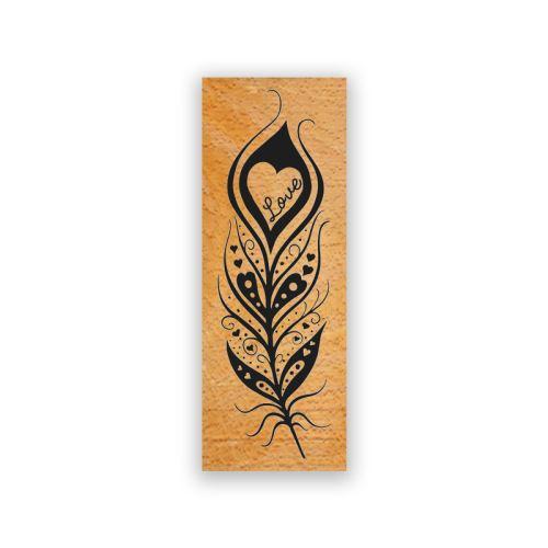 Dřevěné razítko - Pírko lásky 1