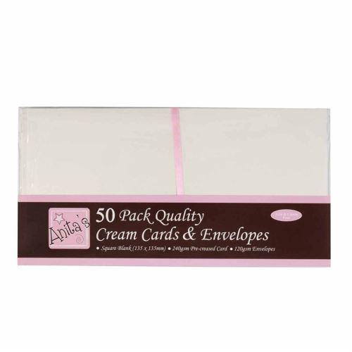 Základy přání a obálky 13,5x13,5, 50ks (300g/m2) - krémová