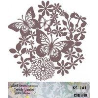 Šablona Cadence stínová - motýlci v květinách