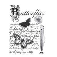 Rýžový papír A3 - černobílé motýlci