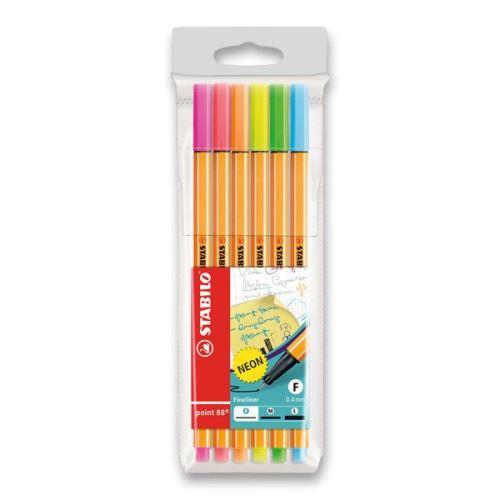 Liner Stabilo point 88 - sada 6 neonových barev
