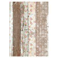 Rýžový papír A3- hnědá zeď s květy