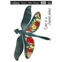 Nažehlovací nálepka, 25x35 cm - květinová vážka