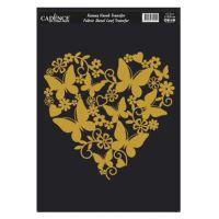 Zlatá nažehlovací nálepka, 21x30 cm - srdce