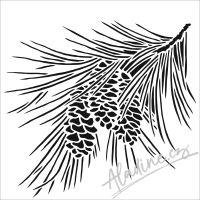 """Šablona 6""""x6"""" (15,2 x 15,2 cm), Fir branch"""