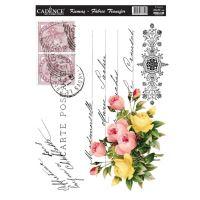 Nažehlovací nálepka, 25x35cm - pohlednice s květinami