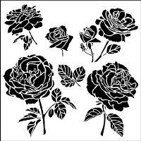 """Šablona 6""""x6"""" , Cabbage Roses, mini"""