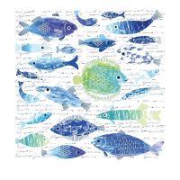 Nažehlovací nálepka, 43x43cm, ryby s nápisy