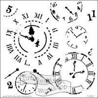 """Šablona 12""""x12"""" (30,5 x 30,5 cm) - hodiny, Time Travel"""