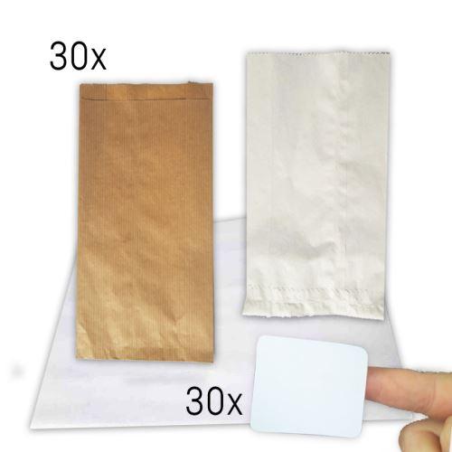 Sada papírových sáčků a nálepek, 30 ks - 8x12 cm + 1 arch 4 x4,6 cm 00