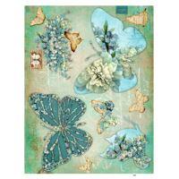 Rýžový papír A3 - tyrkysový motýlci