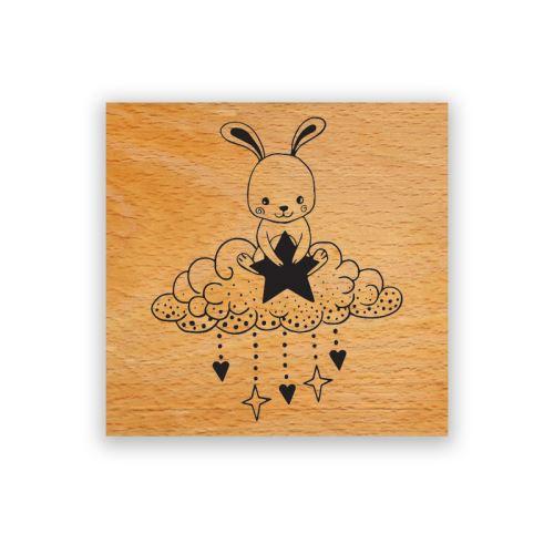 Dřevěné razítko - Králíček na mráčku 1
