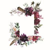 Nažehlovací nálepka, 25 x 35 cm - květonový rámeček