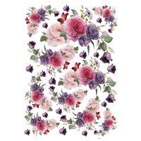 Rýžový papír A3 - růžové květiny