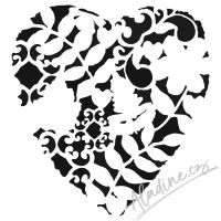 "Šablona 6""x6"" (15,2 x 15,2 cm), Heart Fern"