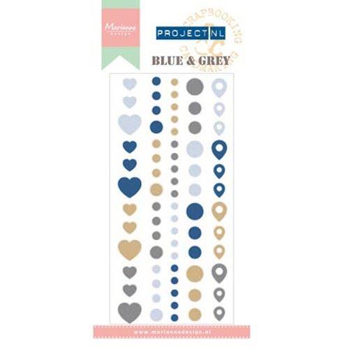 Enamelové samolepicí vzory - modré a šedé