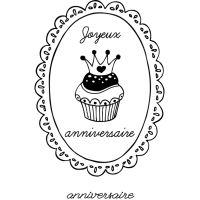 Dřevěné razítko, velikost G - narozeninový cupcake s korunkou