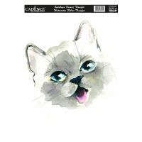 Nažehlovací nálepka,25x35 cm, akvarelová - kočka