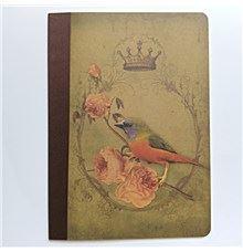 Zápisník na Bullet Journal, tečkovaný, růže a pták