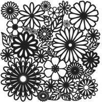 """Šablona 12""""x12"""" (30,5 x 30,5 cm)  -  pozaďové květiny,Flower Frenzy"""