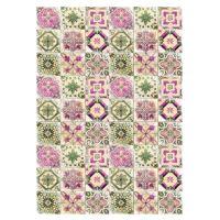 Rýžový papír A4 - růžovo zelené dlaždice